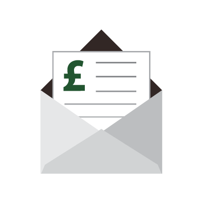 An envelope containing a bill