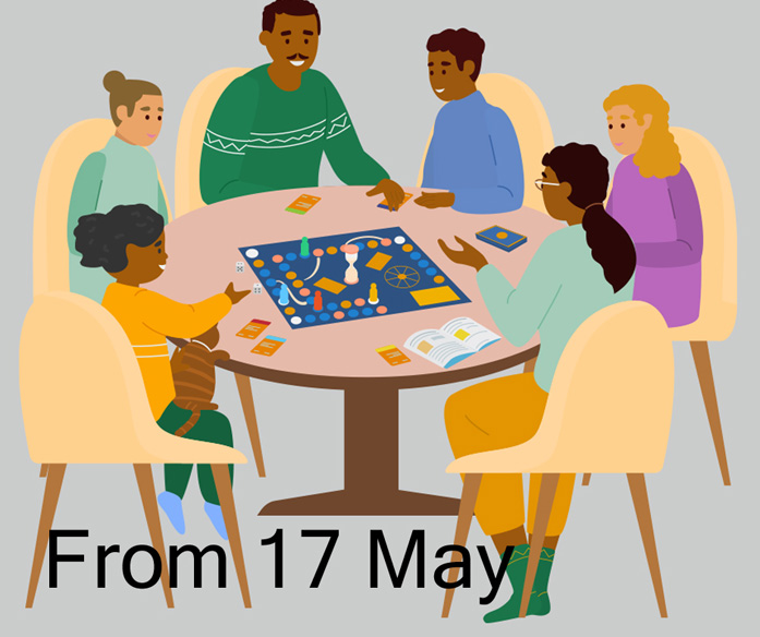 Friends and family gathered around a table playing board games