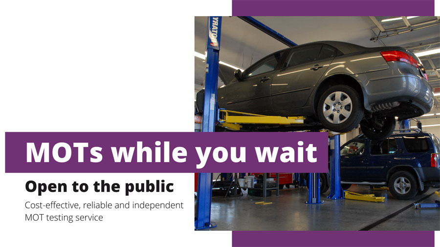 A car with text that reads 'MOTs while you wait, open to the public. Cost-effective, reliable and independent MOT testing service'