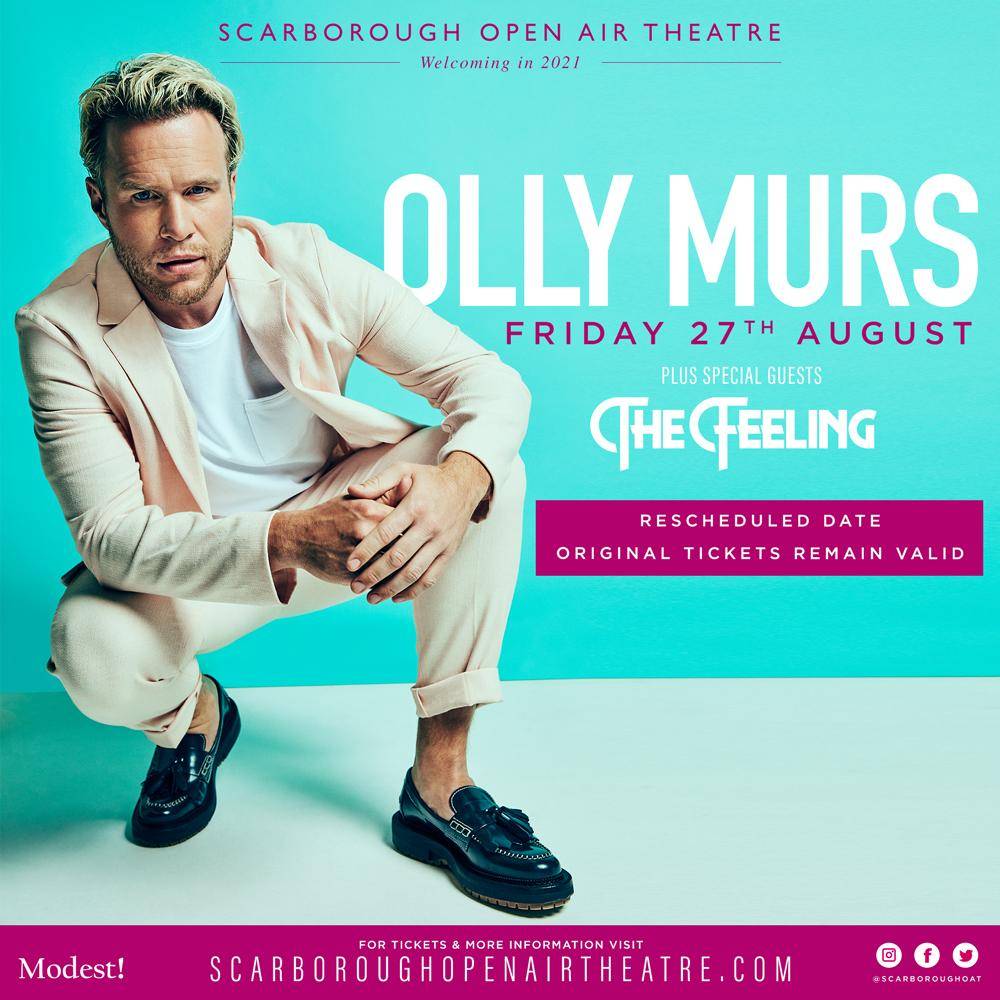 Promotional poster for Olly Murs show on 27 August 2021