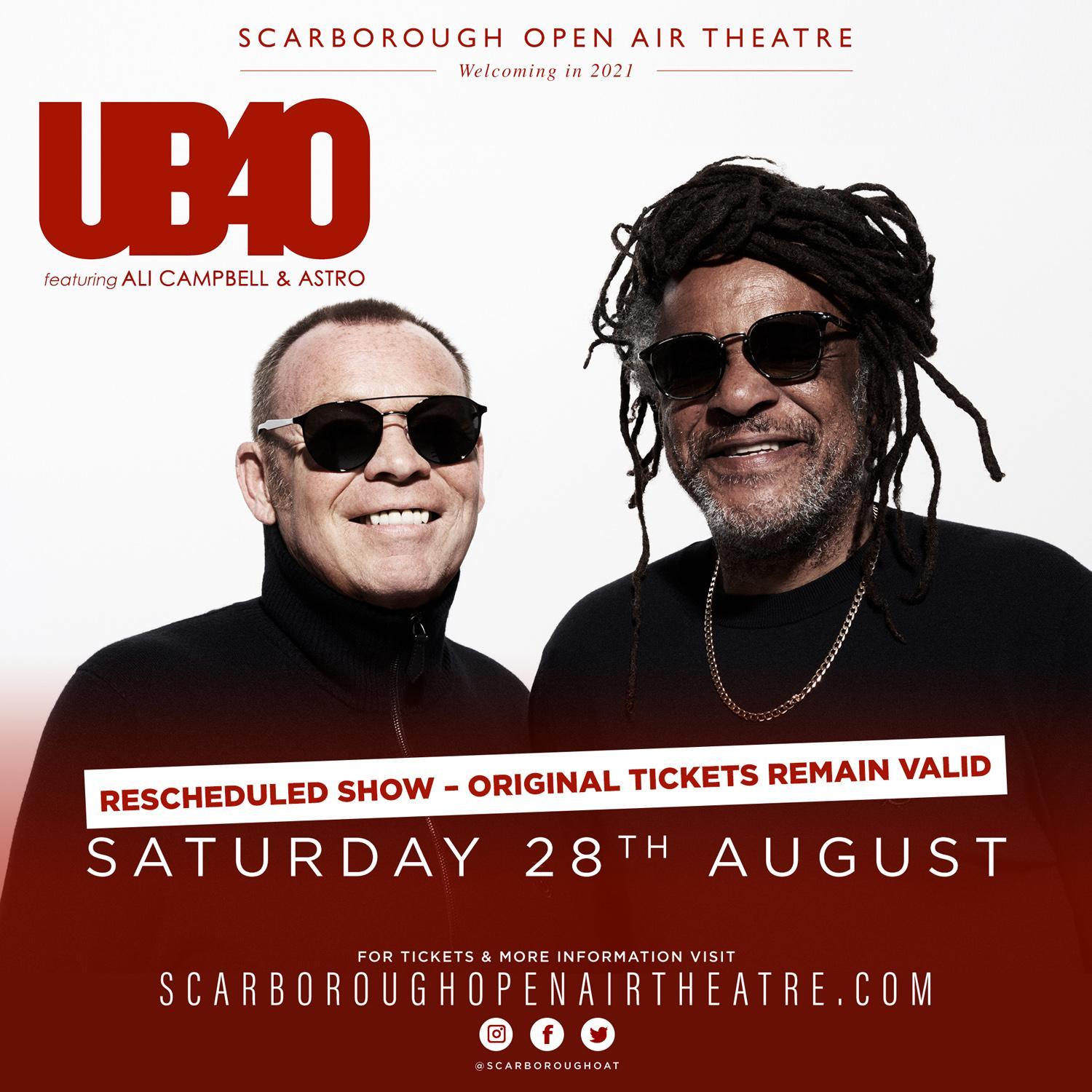 Promotional image for UB40 featuring Ali Campbell and Astro