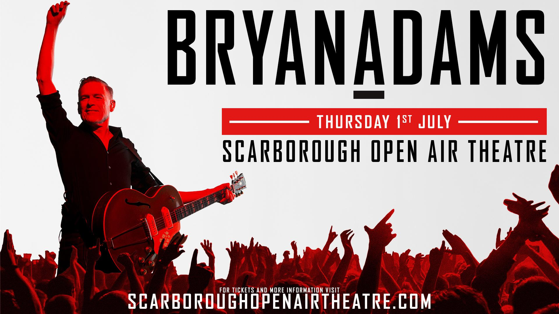Promotional image for Bryan Adams show at Scarborough Open Air Theatre