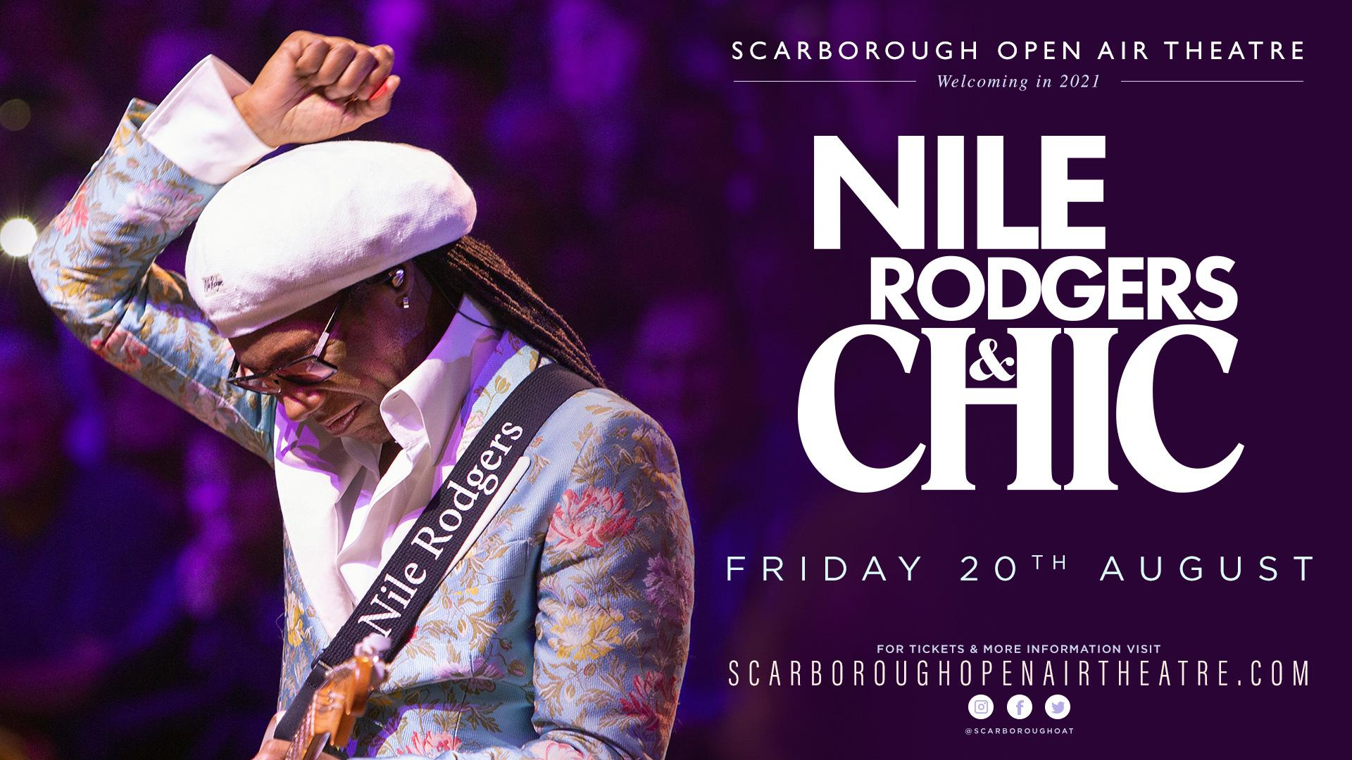 Promotional graphic for Nile Rodgers & CHIC