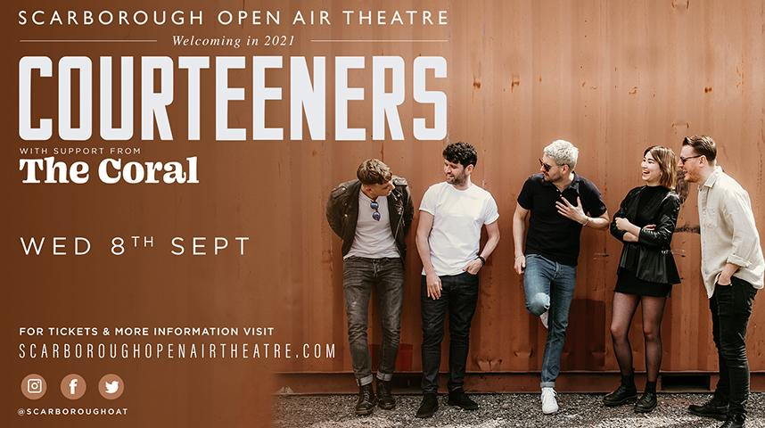 Promotional graphic for Courteeners gig at Scarborough Open Air Theatre