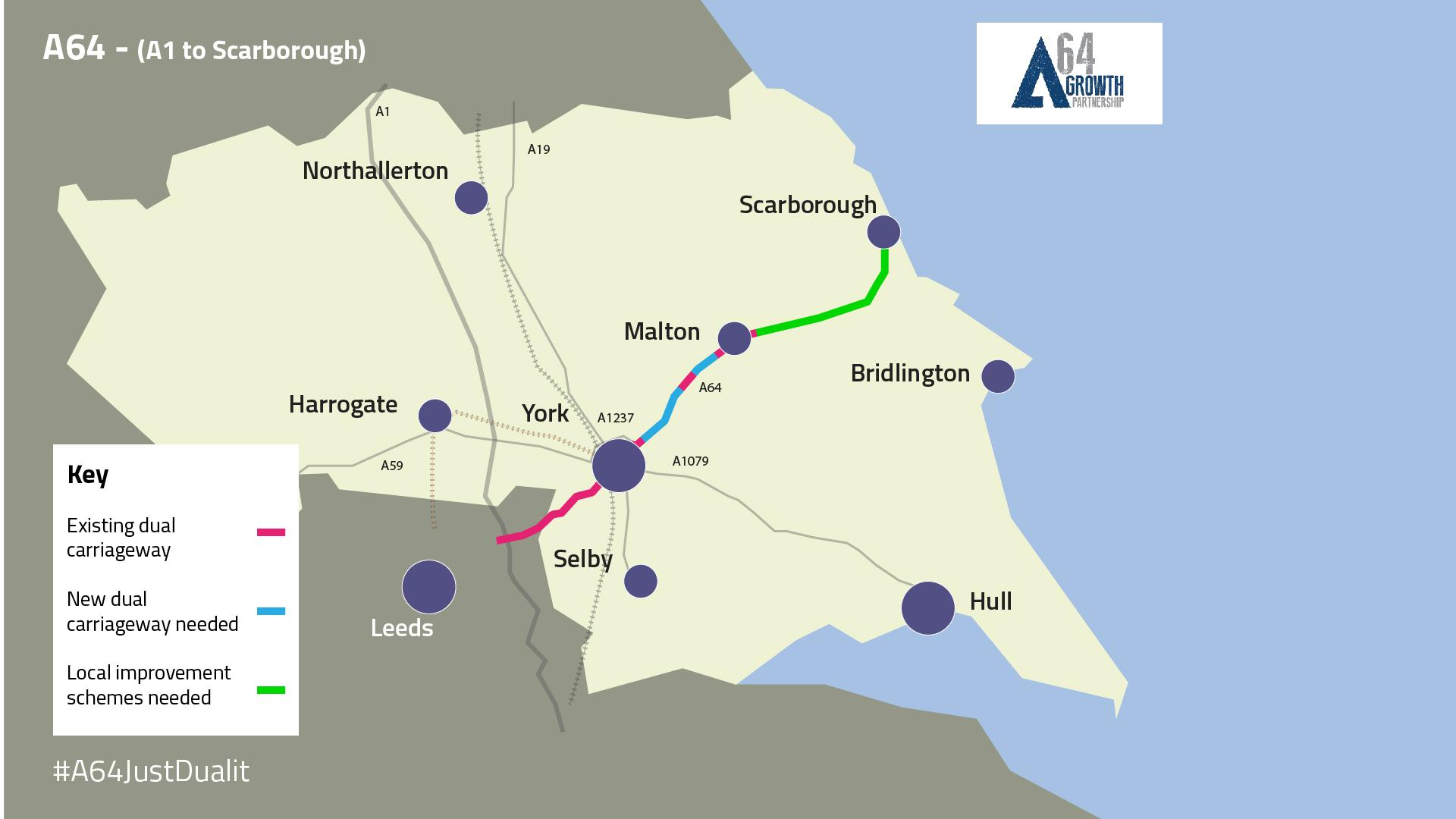 Map showing the upgrades that the Growth Partnership wants to see take place on the A64