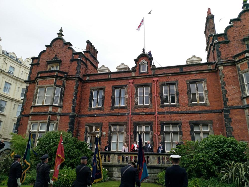 Picture of the Armed Forces Day flag flying above the Town Hall in Scarborough