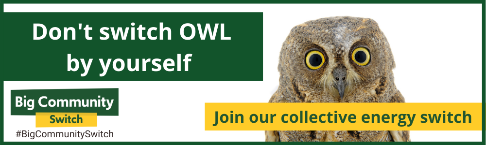 A picture of an owl and the words 'Don't switch OWL be yourself' - Join our collective energy switch