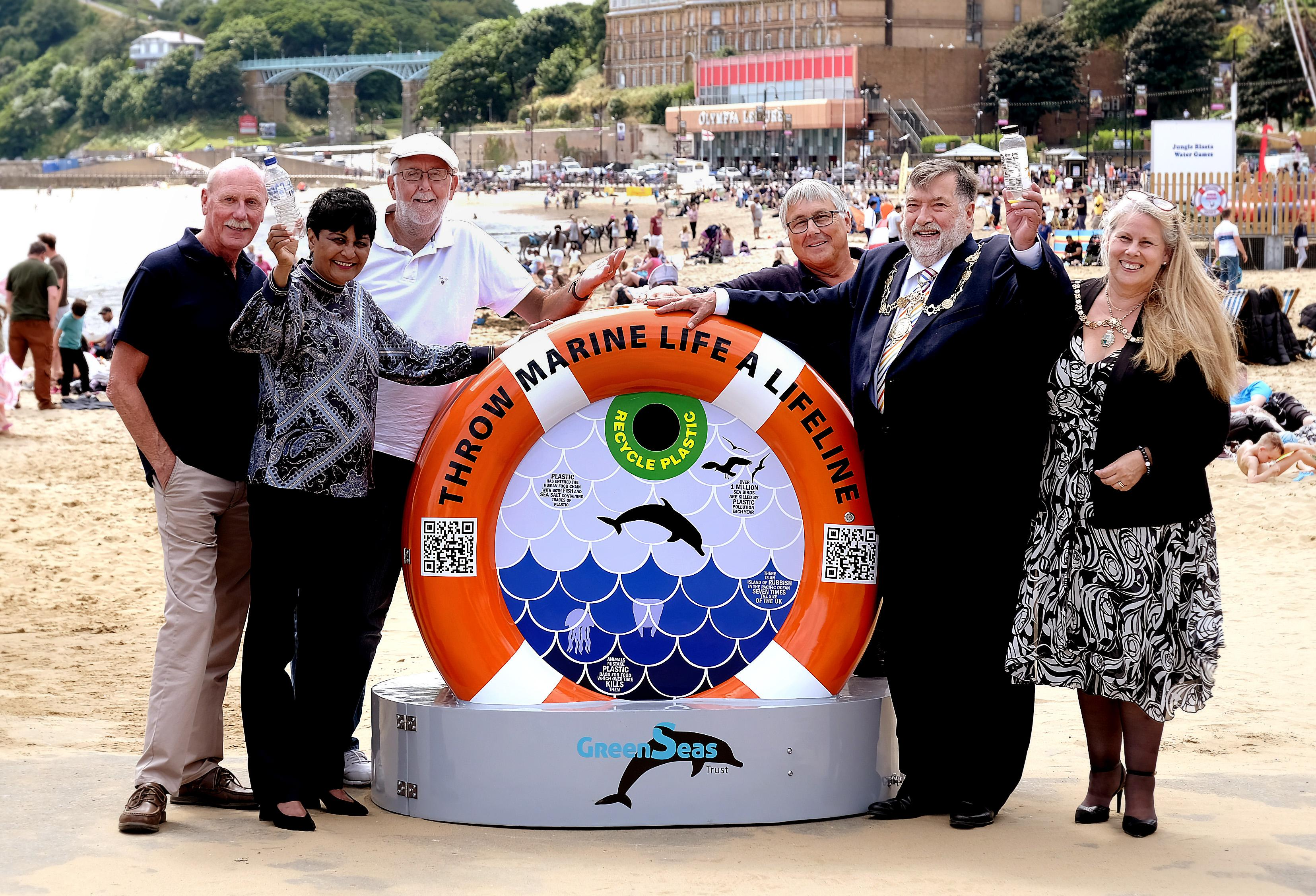 Picture of the launch of the BinForGreenSeas at Scarborough South Bay