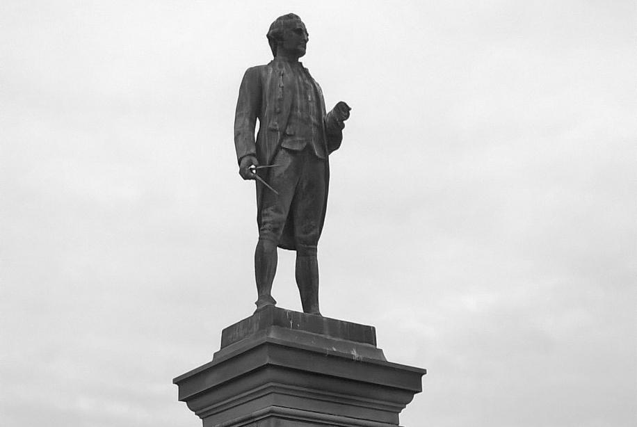 Picture of the top section of Whitby's Captain Cook statue