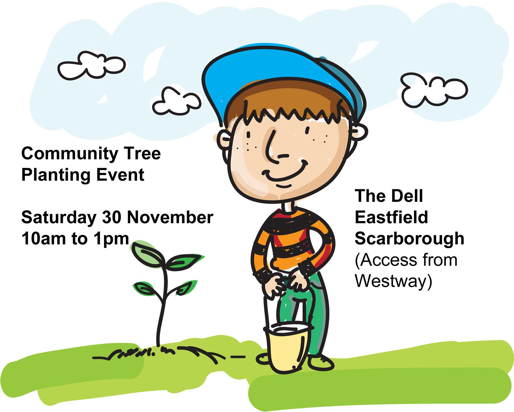 Graphic to promote the community tree planting event on 30 November