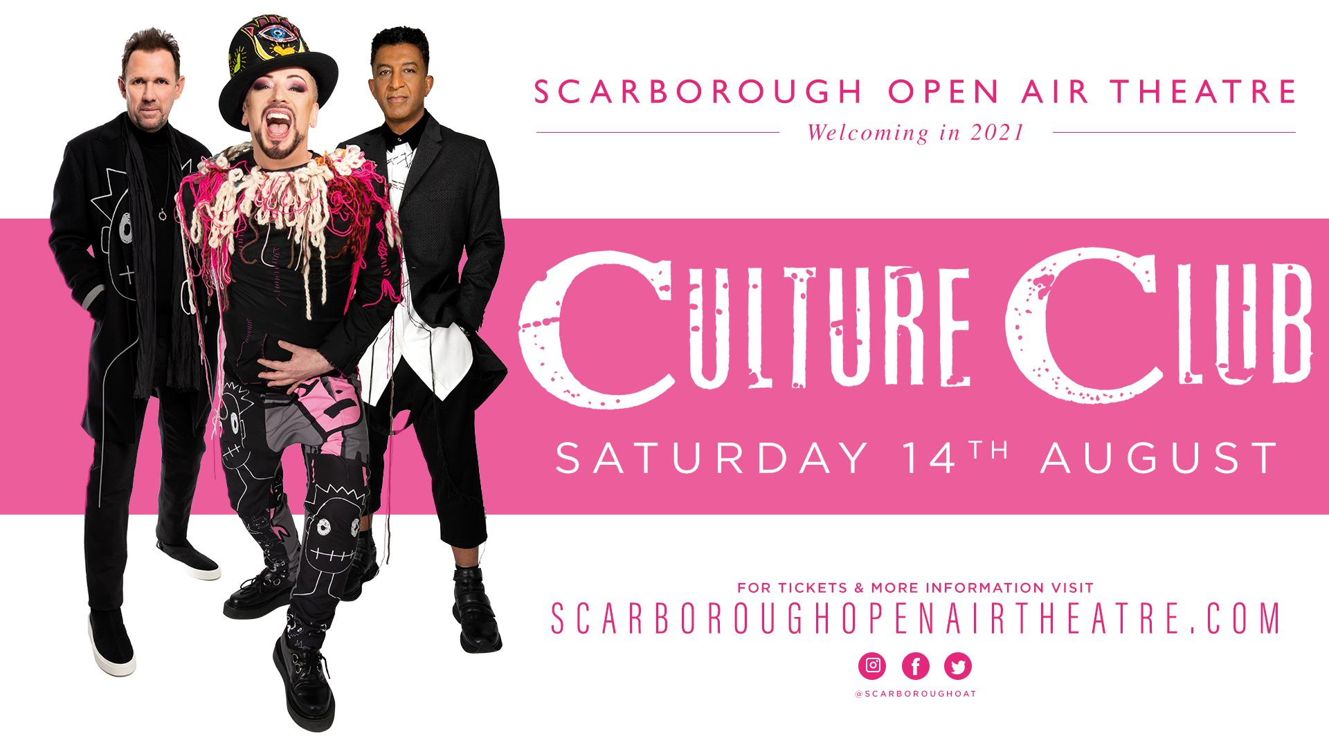 Promotional image for Boy George and Culture Club show at Scarborough OAT