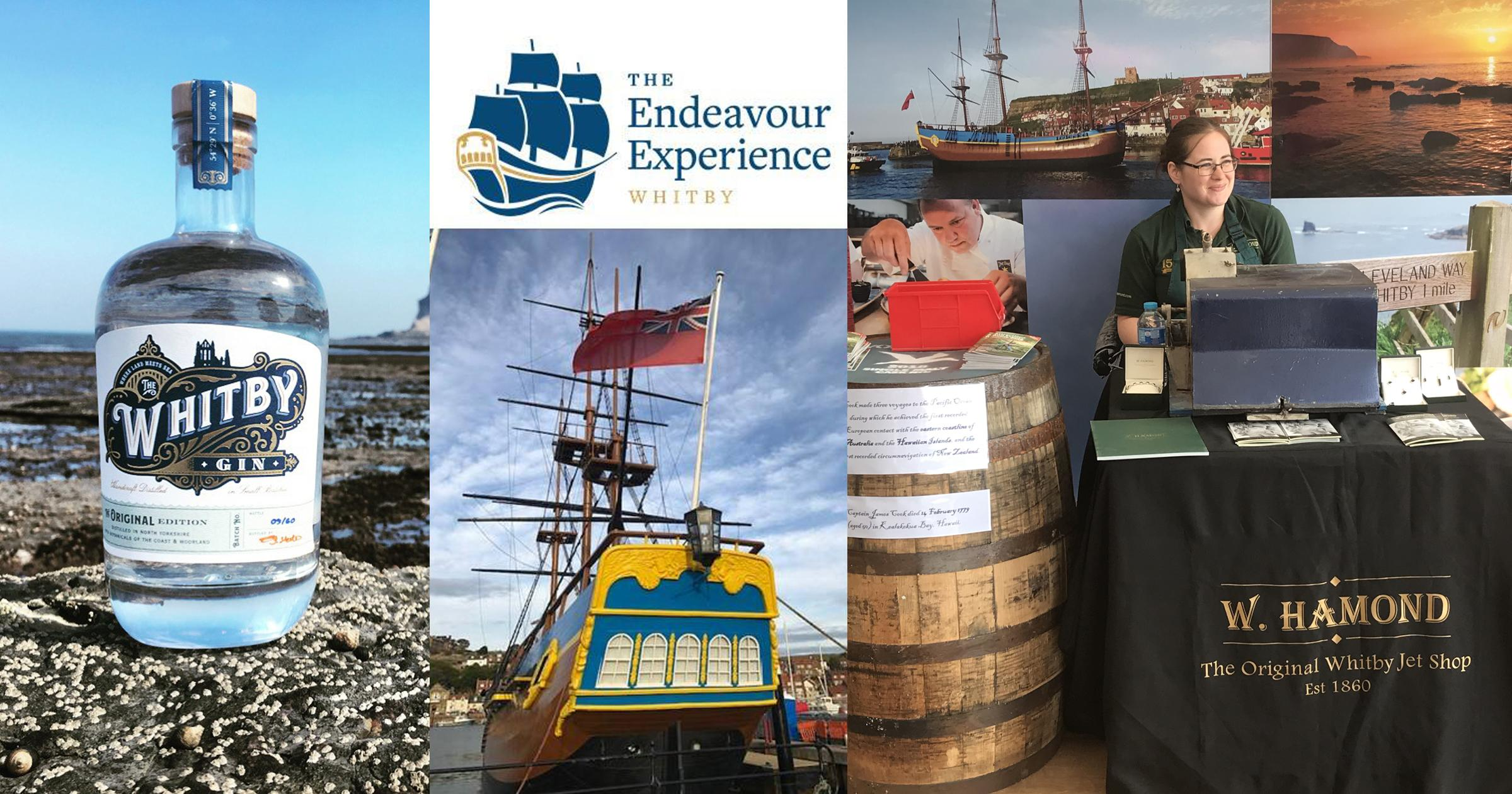 Montage of images showing Whitby Gin, The Endeavour Experience and W Hamond Whitby Jet