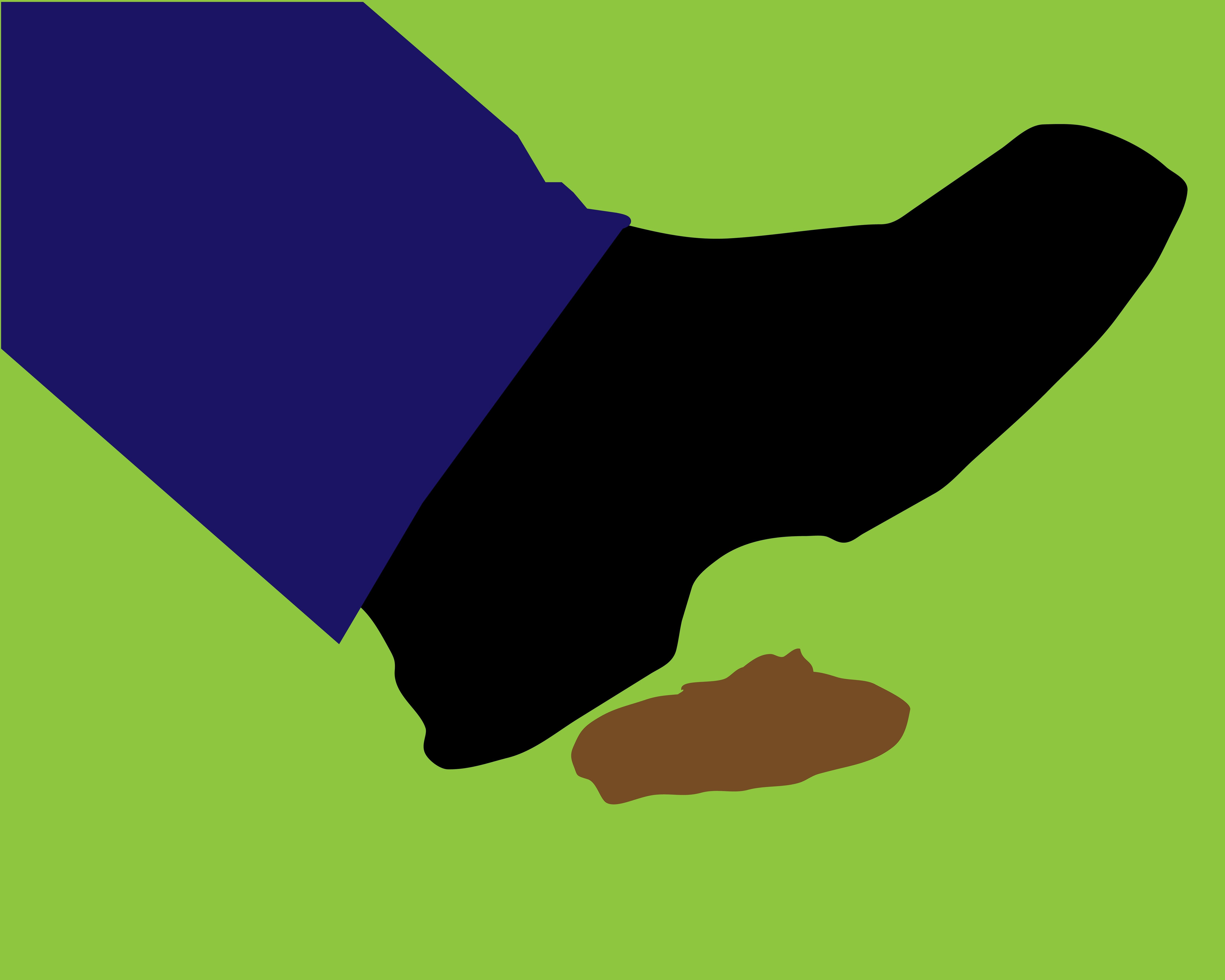 Clip art style image of someone stepping on dog faeces