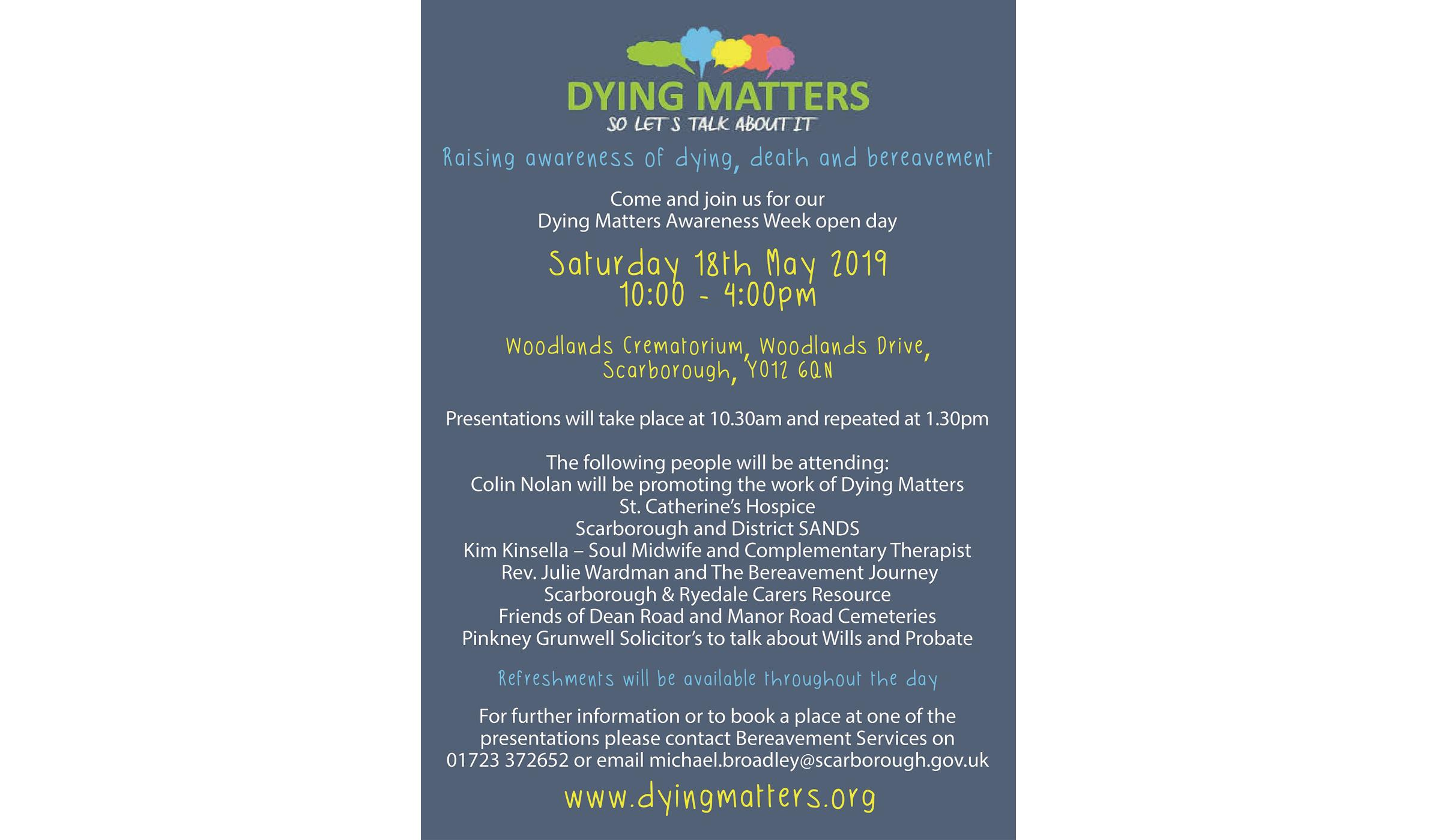 Image of promotional poster for Dying Matters event