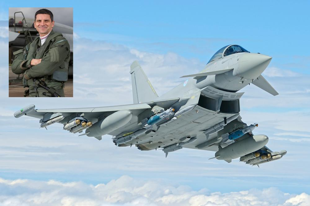 Picture of the Eurofighter Typhoon and inset, picture of Flight Lieutenant Jim Peterson