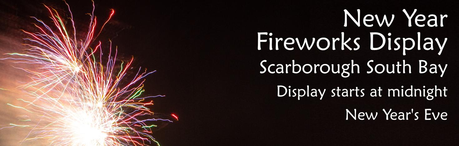 Promotional graphic for New Year fireworks display