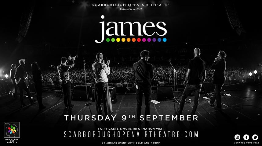 Promotional graphic for James show at Scarborough Open Air Theatre