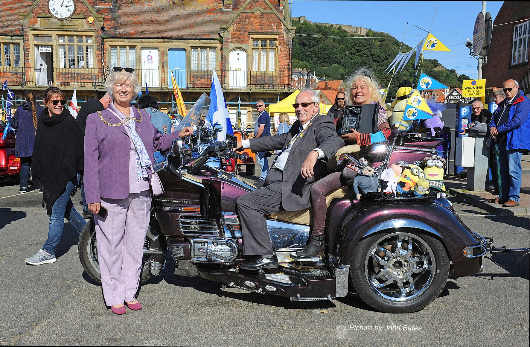 Picture of the Mayor and Mayoress testing out one of the GoldWing motorbikes