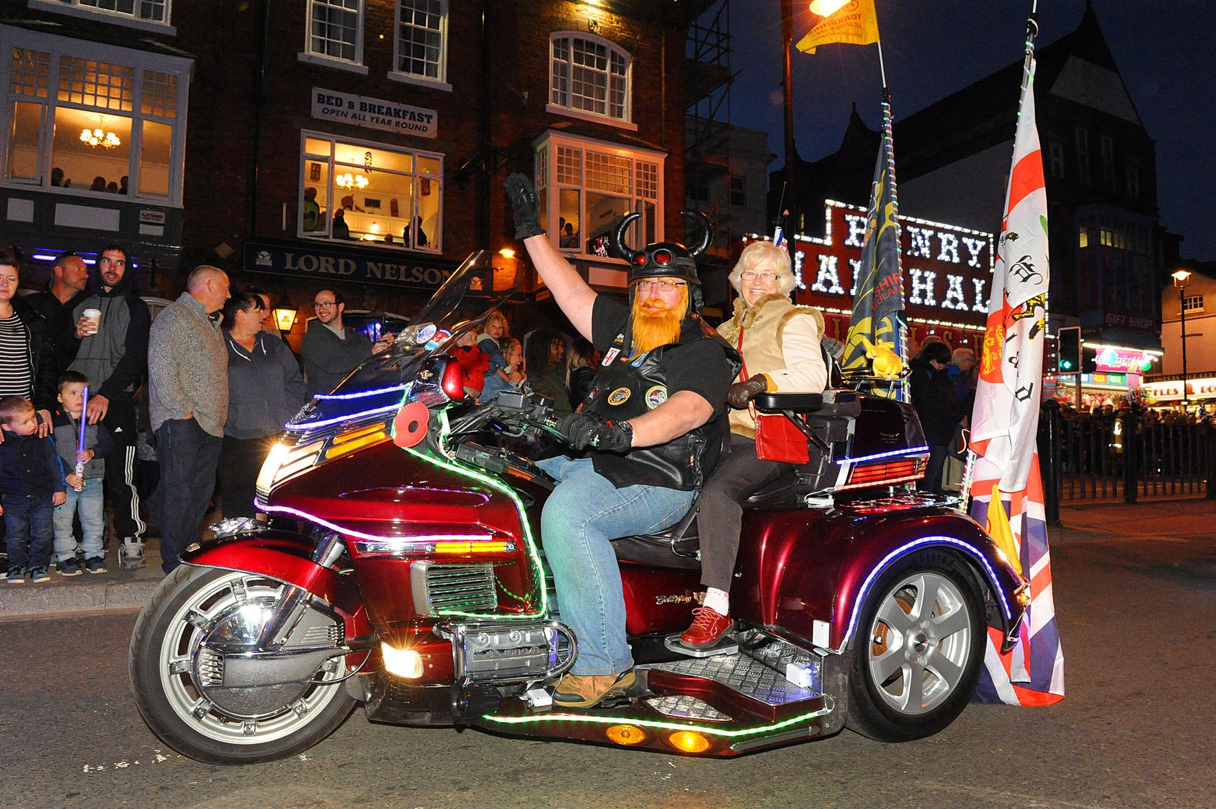 Picture of a Goldwing bike taking part in the Light Parade