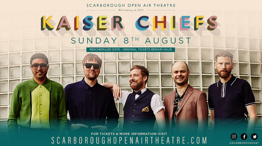Promotional graphic for Kaiser Chiefs on Sunday 8 August 2021