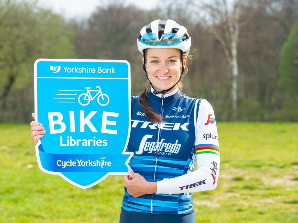 Picture of Lizzie Deignan promoting the Yorkshire Bank Bike Libraries