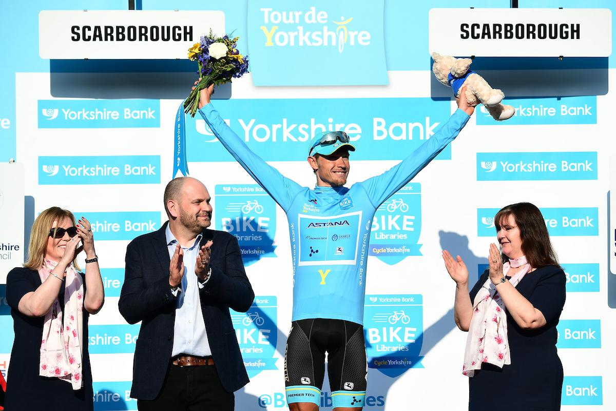 Picture of Tour de Yorkshire 2018 Stage Three podium presentation in Scarborough - credit www.swpix.com