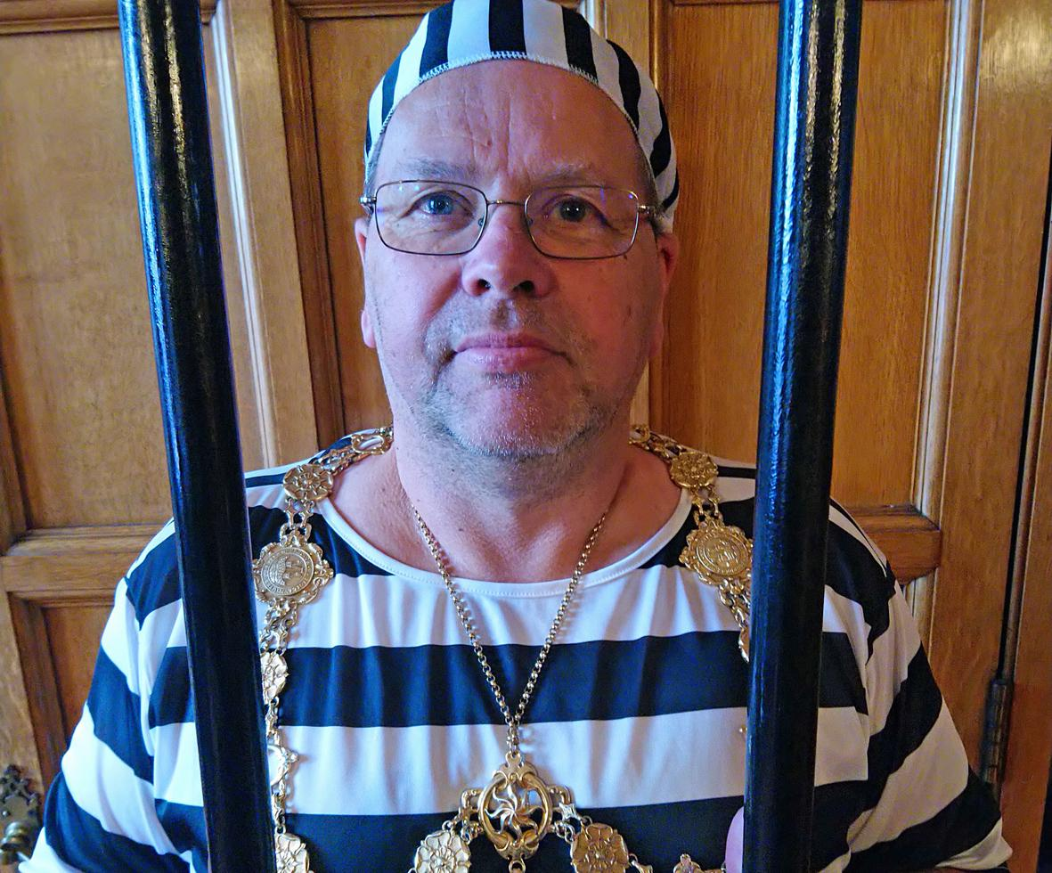 Picture of Borough Mayor, Cllr Joe Plant, 'behind bars'