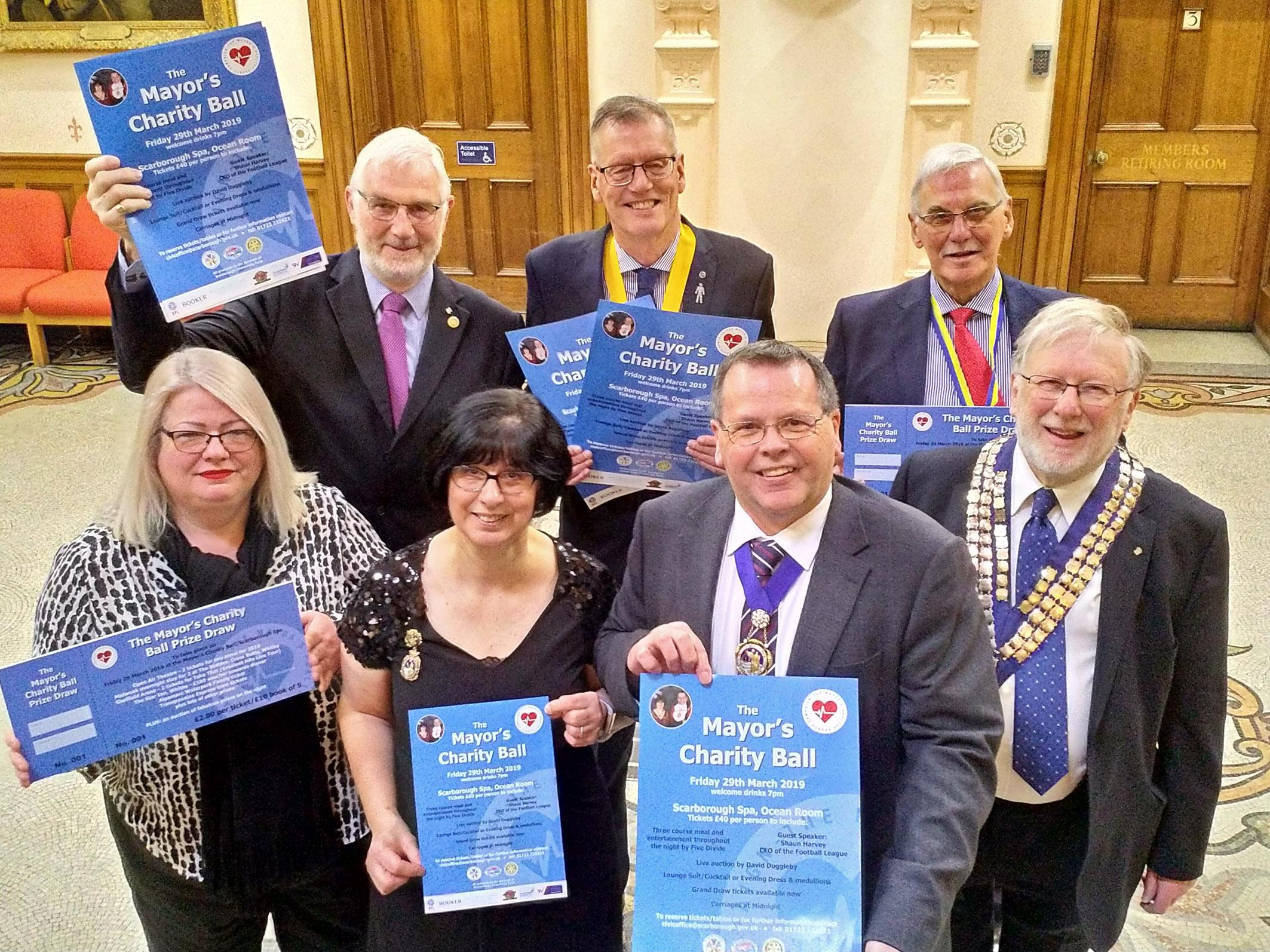 Picture of Mayor and Mayoress and Rotarians at the ticket launch for the 2019 Mayor's Charity Ball