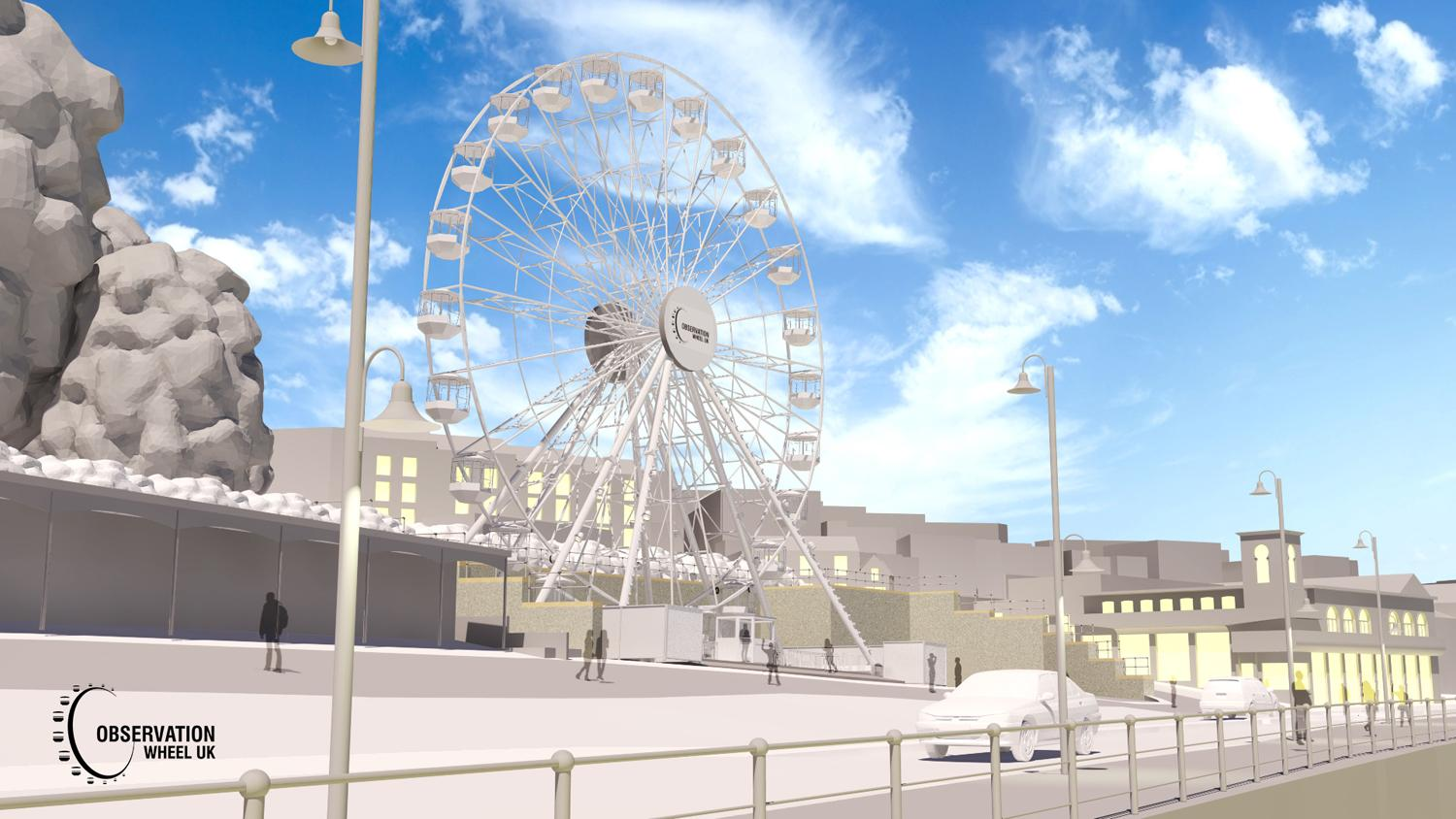Artist's impression of the observation wheel on site