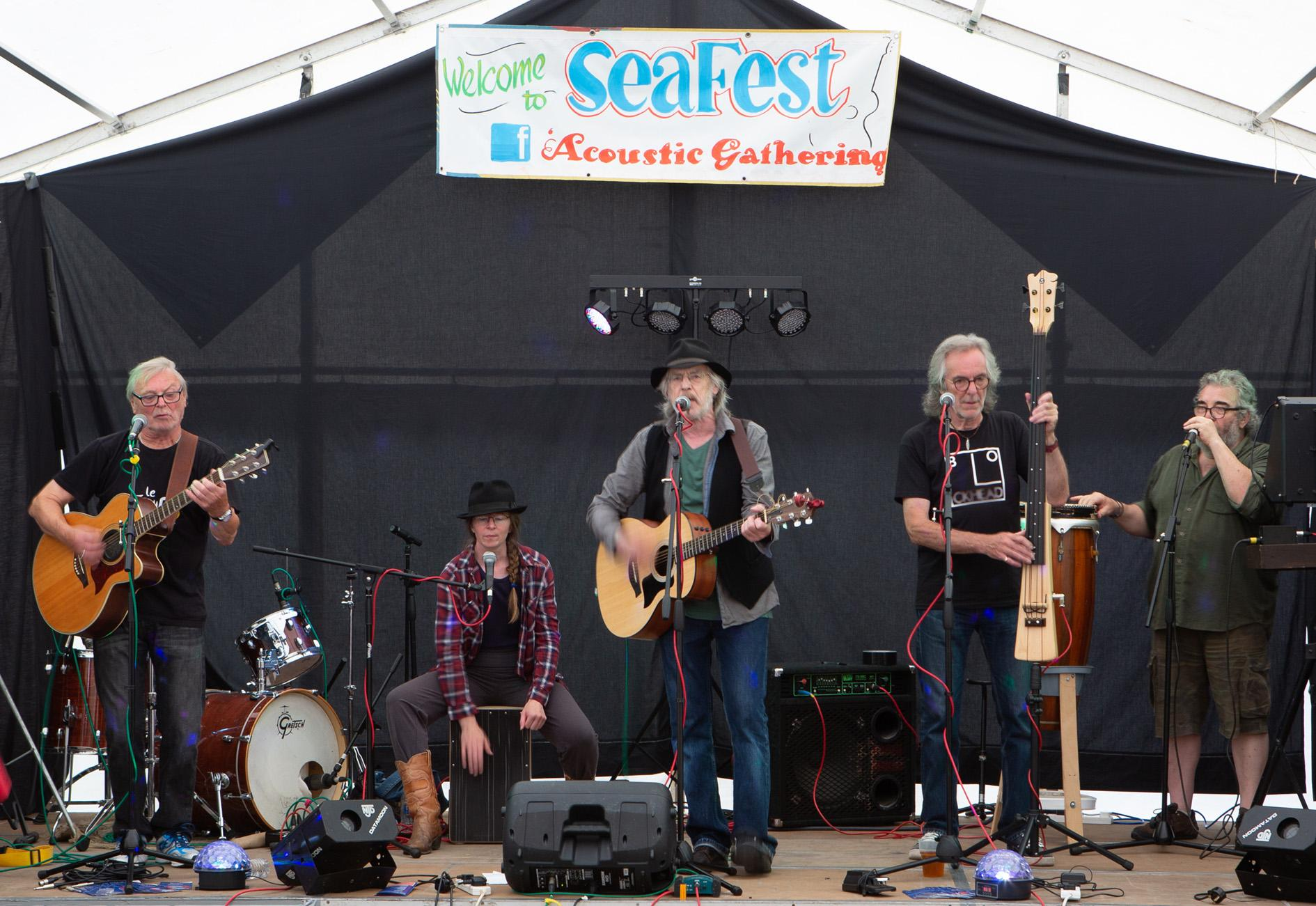 Picture of a band on the Seafest music stage