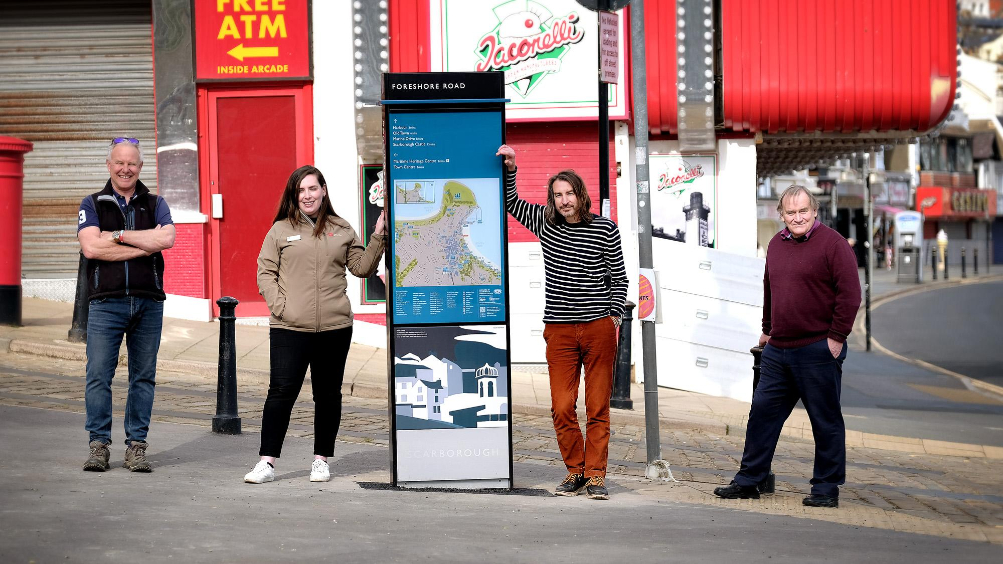 Picture of the launch of Scarborough's new wayfinding signs on Foreshore Road