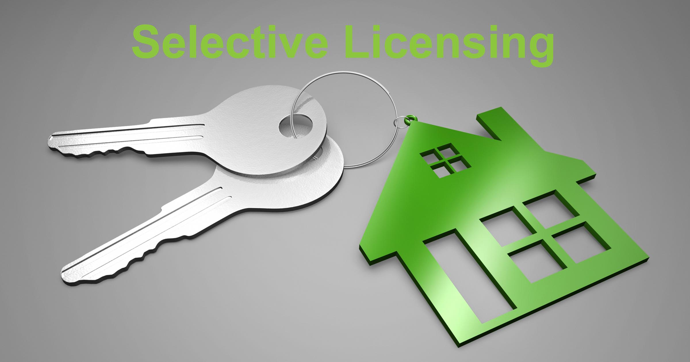 Green and silver coloured graphic featuring house keys, a key ring in the shape of a house and the words, Selective Licensing